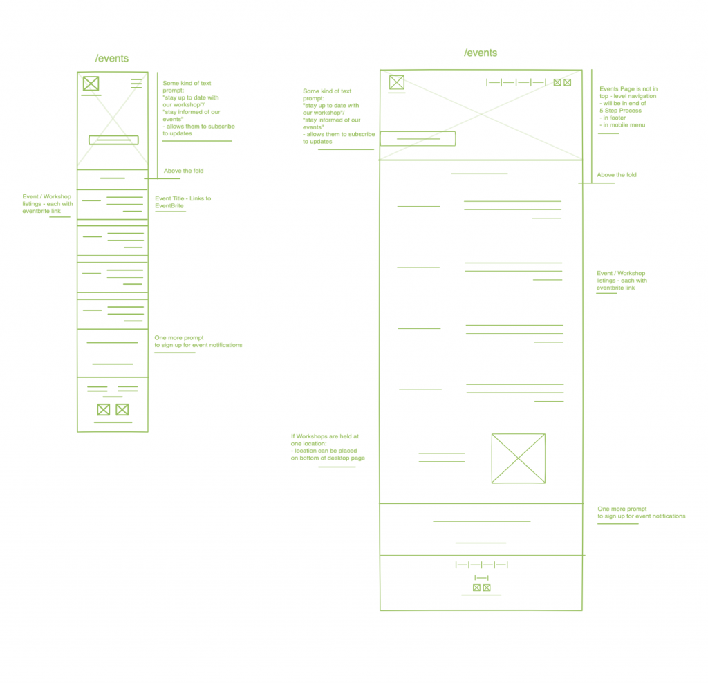 Wireframe for our client's events page.