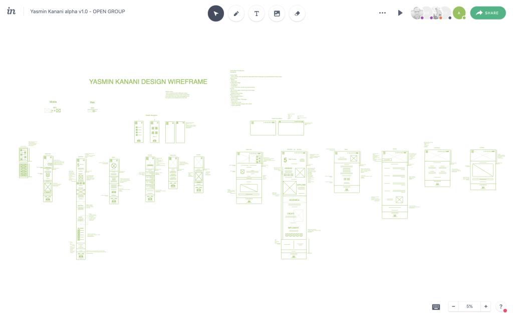 Yasmin Kanani - Group wireframe on InVision.