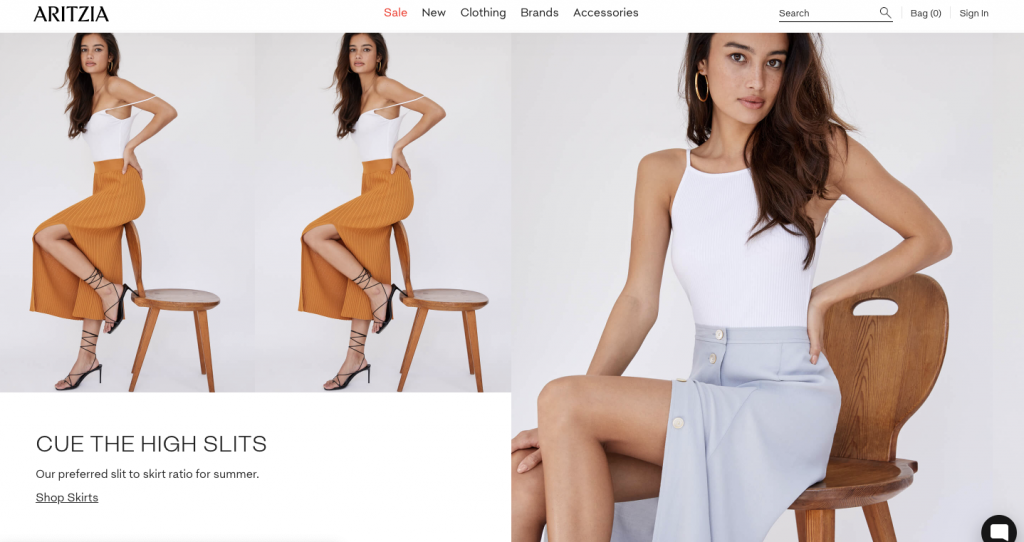 Aritzia's website at that moment in time.