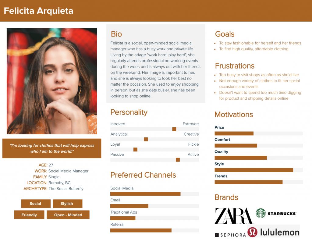 Felicita Arquieta - a persona for Aritzia's website.