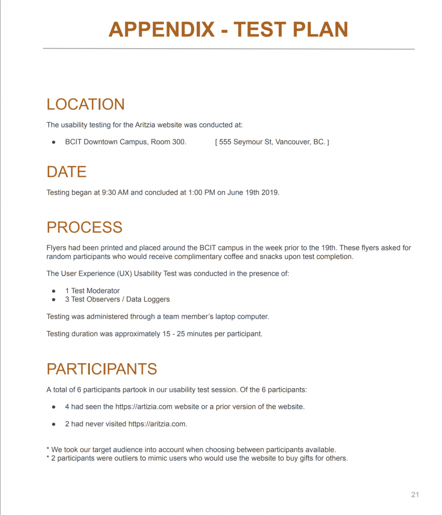 The test plan for our usability test.