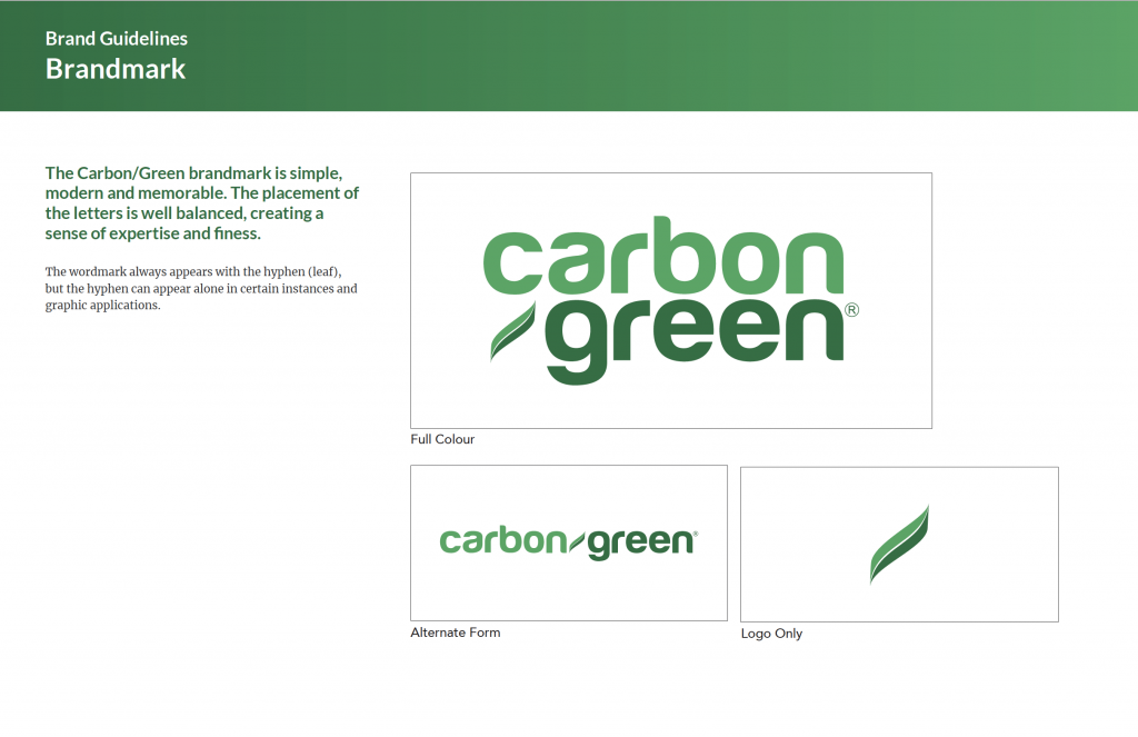 logo conventions for Carbon/Green.