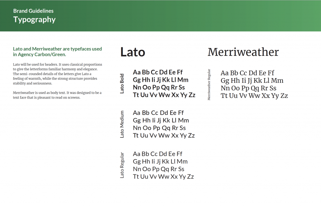 Carbon Green Typeface specifications.